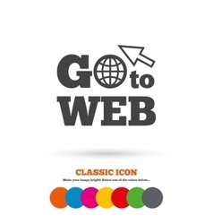 Go to web icon internet access symbol vector