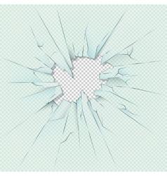 Broken transparent glass on checkered plaid vector