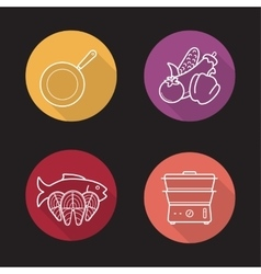 Steam cooking icons vector