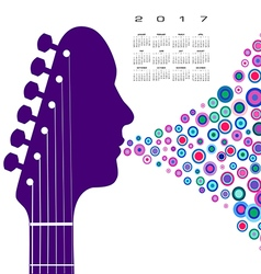 A 2017 calendar with a guitar headstock man vector image vector image