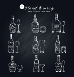 alcoholic beverages monochrome icons set vector image vector image