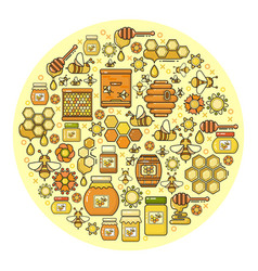 Beekeeping product icon set of cute various hone vector