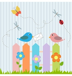 Birds on fence with letter vector image