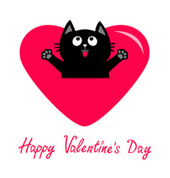 Black cat and pink heart icon cute funny cartoon vector