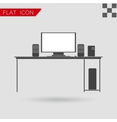 Black icon of desk Flat Style with red vector image