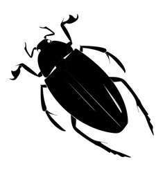 Black simple silhouette of a beetle on a white vector