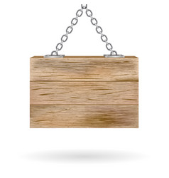 Blank wooden signboard hanging on chain vector