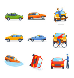 Car crash collision traffic insurance safety vector
