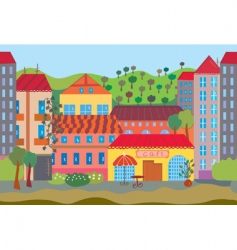 city cartoon seamless vector image vector image