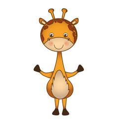 Colorful picture cute giraffe animal vector