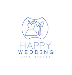Cute line logo design with wedding dress and tie vector