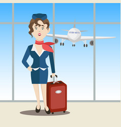 Cute stewardess standing vector