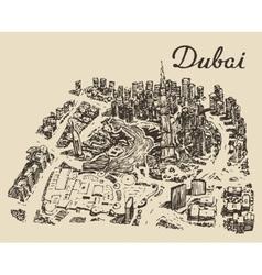 Dubai top view hand drawn engraved vector