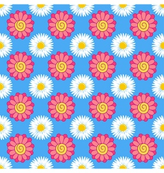 Flowers stylized gerbera chamomile seamless backgr vector