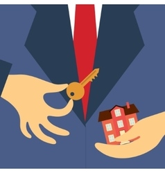 Hand real estate agent holding key and house vector
