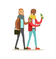Happy Best Friends Having A Drink After Work vector image