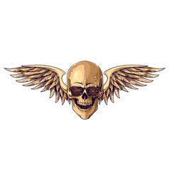 Hipster skull with wings vector image vector image