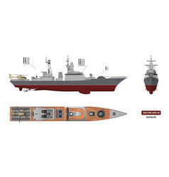 image of military ship top front and side view vector image