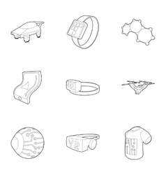 Latest electronic devices icons set outline style vector