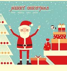 Merry christmas card with Santa Claus and holiday vector image vector image