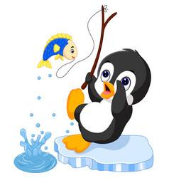 penguin fishing vector image vector image