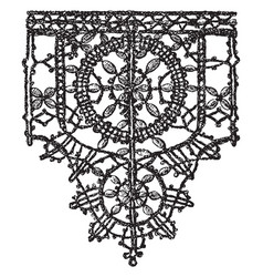 Point noue lace border is a 15th century design vector