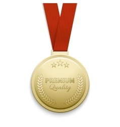 Premium quality gold medal vector image vector image