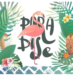 Print with tropical plants and a flamingo vector image