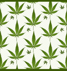 seamless pattern medical marijuana green leafs vector image
