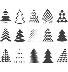 set of 15 stylized Christmas trees vector image vector image