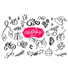 set of christmas design element in doodle style vector image