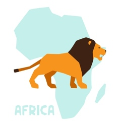 Simple of lion on background africa map vector