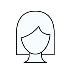 Sketch silhouette of faceless woman with short vector