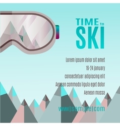 Ski party poster template with mount and sunglass vector
