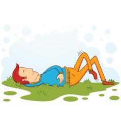 Sleeping on grass vector