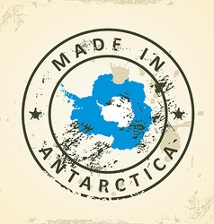 Stamp with map flag of antarctica vector