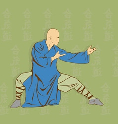 The man shows kung fu against a hieroglyph vector