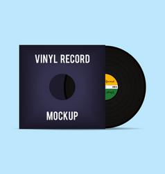 Vinyl template vinyl record with cover mockup vector