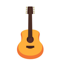 Wooden acoustic guitar isolated flat cartoon vector