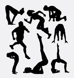 Workout male and female sport silhouette vector