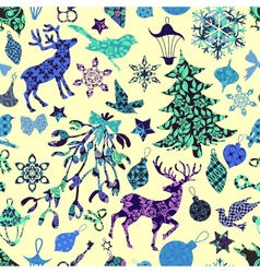 Seamless pattern with christmas patch silhouettes vector
