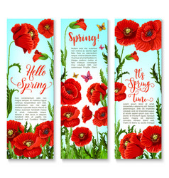 Banners of spring poppy flowers and quotes vector