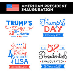 American president inauguration greetings set vector