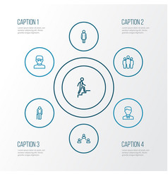 Person outline icons set collection of team vector