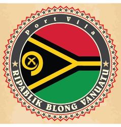 Vintage label cards of vanuatu flag vector
