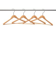 Coat hangers on a clothes rail vector