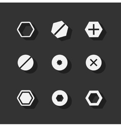 Screw bolt flat icons vector