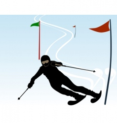 Silhouette of an athlete skier vector