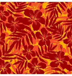 Red and orange tropical flowers silhouettes vector