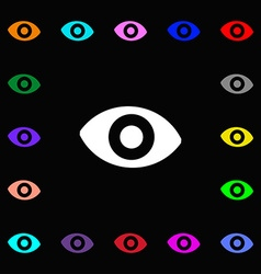 Sixth sense the eye icon sign lots of colorful vector